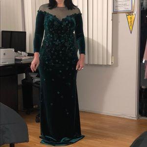 Teri Jon Emerald Embellished Velvet Dress